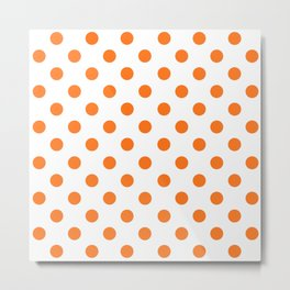 Polka Dot Texture (Orange & White) Metal Print