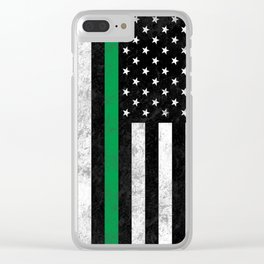 Thin Green Line Flag Clear iPhone Case