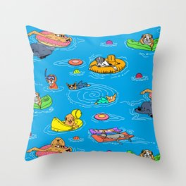 Water Dogs Throw Pillow