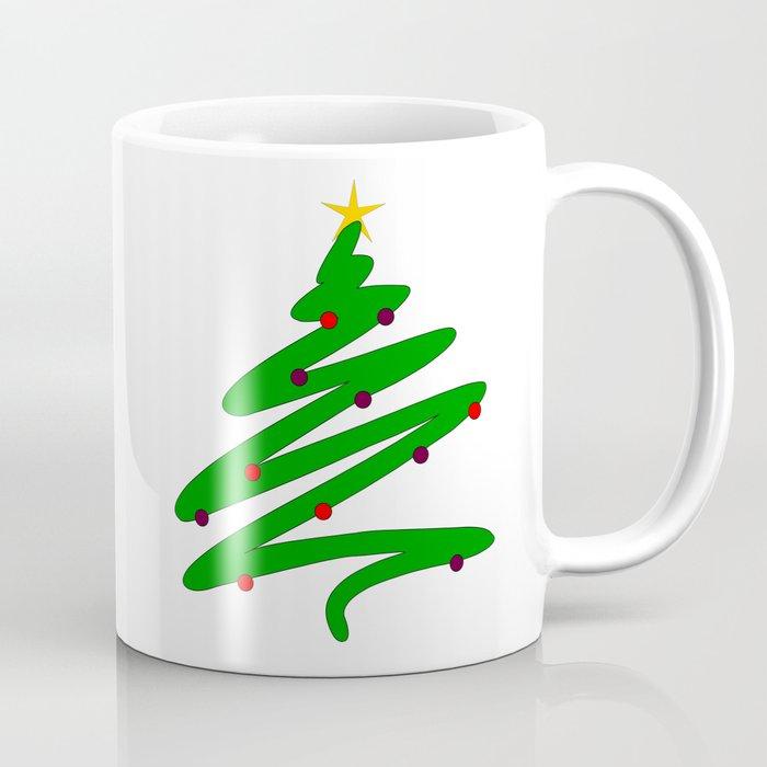 Coffee Christmas Tree Ornaments.Minimalist Green Christmas Tree Doodle With Ornaments And Star Coffee Mug By Henatayeb