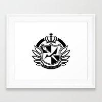 dangan ronpa Framed Art Prints featuring Dangan Ronpa High School logo  by Prince Of Darkness