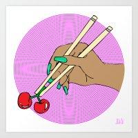 Cherry Chopsticks Art Print