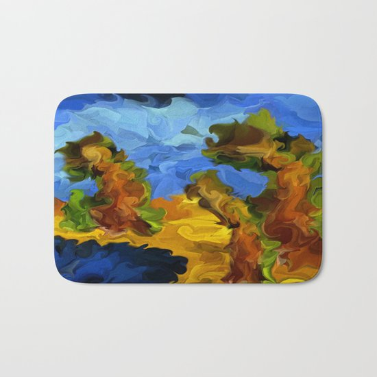 Trees In The Wind Bath Mat
