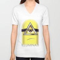 minions V-neck T-shirts featuring Minions Illuminati by Vincent Trinidad