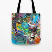 archan nair Tote Bags featuring Microcrystalline Tendrils by Archan Nair