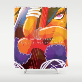 Girl with Guitar Shower Curtain
