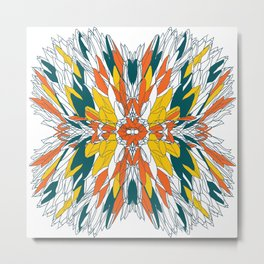 Colorful geometric abstract plant design Metal Print