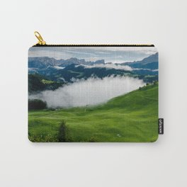 Full green mountain top with clouds beneath Carry-All Pouch