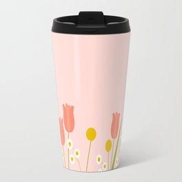 Pale Pink Light Orange Spring Flowers Travel Mug