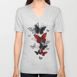 Flying Black and Red Morpho Butterflies Unisex V-Neck