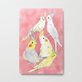 cockatiel watercolor illustration Metal Print