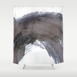 Navy Blue and Grey Gestural Brush Strokes Painting Shower Curtain