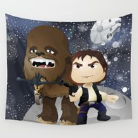 han solo Wall Tapestries featuring Han Solo & Chewbacca by 7pk2 online