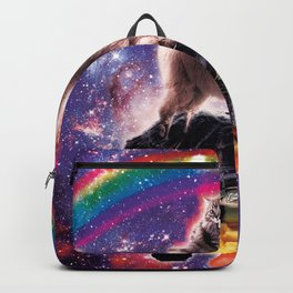 Space Cat Llama Turtle Riding Waffles Backpack