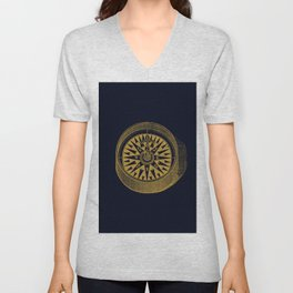 The golden compass I- maritime print with gold ornament Unisex V-Neck