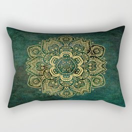 Golden Flower Mandala on Dark Green Rectangular Pillow