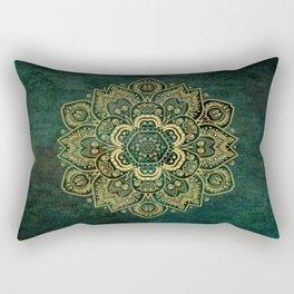 Golden Flower Mandala on Dark Green Rectangular Pillow