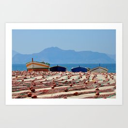 Sicily (boats with fishing nets) Art Print
