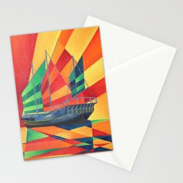 Sail Away Junk Pleasure Boat Stationery Cards