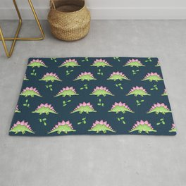 Green and Pink Stegosaurus Dinosaur on navy with leaves Rug