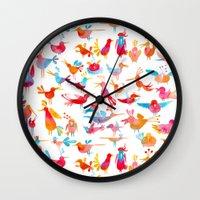 takmaj Wall Clocks featuring Birds by takmaj