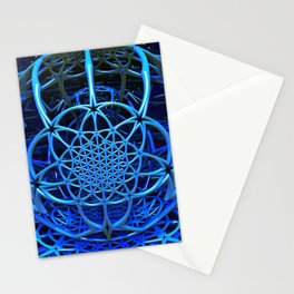 Blues - Flower of Life - Fractal - Mandala - Manafold Art Stationery Cards