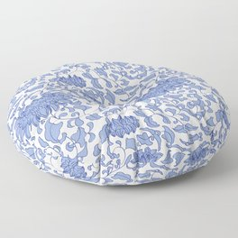Chinoiserie Vines in Delft Blue + White Floor Pillow