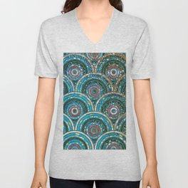 Aqua Teal Blue and Green Sparkling Faux Glitter Circles and Dots Unisex V-Neck