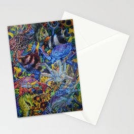 Lobster & Fish Collage Colored Pencil Drawing Stationery Cards