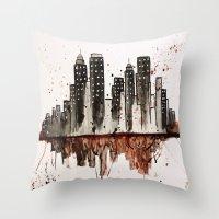 nyc Throw Pillows featuring NYC by Rosalia Mendoza