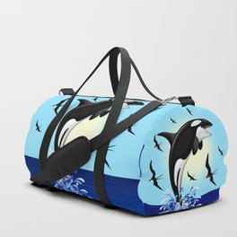 Orca Killer Whale jumping out of Ocean Duffle Bag
