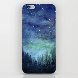 Watercolor Galaxy Nebula Northern Lights Painting iPhone Skin