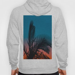 Complementary Colors Orange & Blue Ombre Sunset Minimalist Palm Tree Sunset Silhouette Hoody