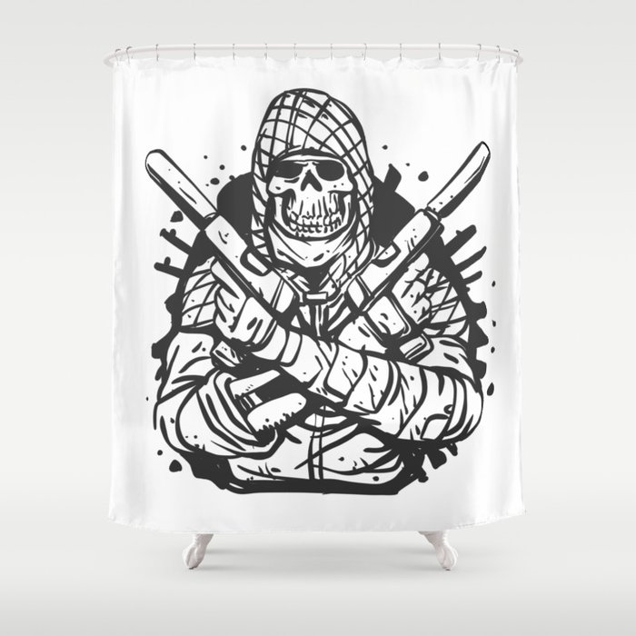 Military Skull With Guns Shower Curtain
