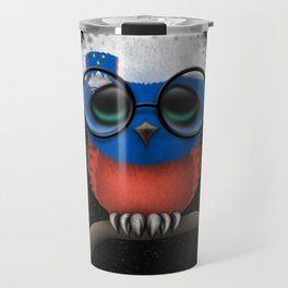 Baby Owl with Glasses and Slovenian Flag Travel Mug