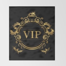 VIP In Black and Goldtone Throw Blanket