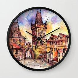 Prague ink & watercolor illustration Wall Clock