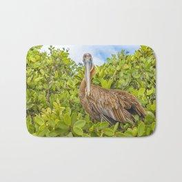 Big Pelican at Tree, Galapagos, Ecuador Bath Mat