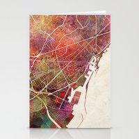barcelona Stationery Cards featuring Barcelona by MapMapMaps.Watercolors