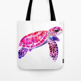 Purple Turtle Bright Pink, purple blue turtle illustration, children room decor Tote Bag