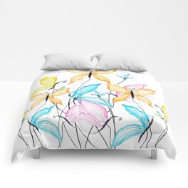 colorful flying butterflies Comforters