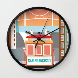 San Francisco, California - Skyline Illustration by Loose Petals Wall Clock