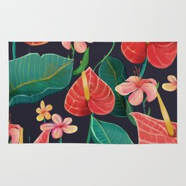 watercolor tropical flowers Rug