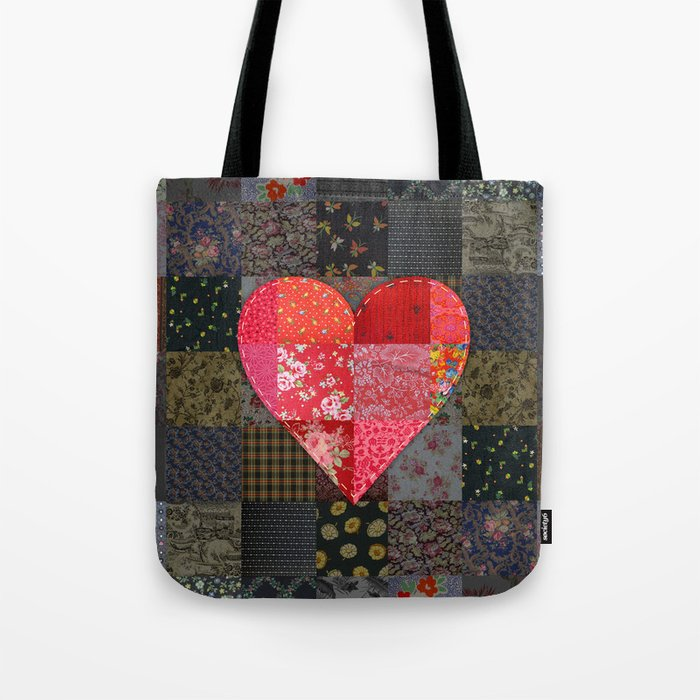 Patched Heart Tote Bag