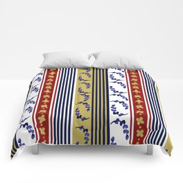 Red Blue and Mustard Stripes with Natural Elements Comforters