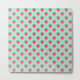 Strawberry Love Hearts and Love Birds Metal Print