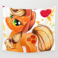 my little pony Wall Tapestries featuring AppleJack My Little Pony Watercolor by JerZy