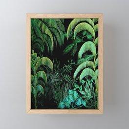 midnight oasis garden tropical metallic print Framed Mini Art Print
