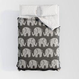 Elegant black silver glitter cute elephant pattern Comforters