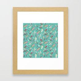 Cactus Pattern | Cacti Print Hot Pink onTeal Framed Art Print